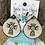 Thumbnail: Cowhide Teardrop Aztec Cross Engraved Earrings