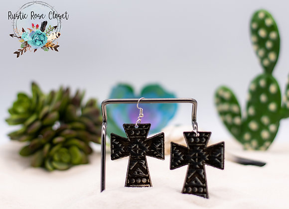 Cowhide Aztec Engraved Earrings
