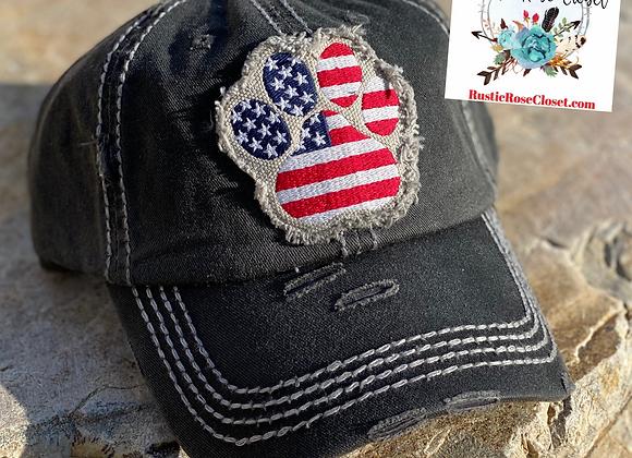USA Paw Print 🐾 🇺🇸 Vintage Trucker Hat