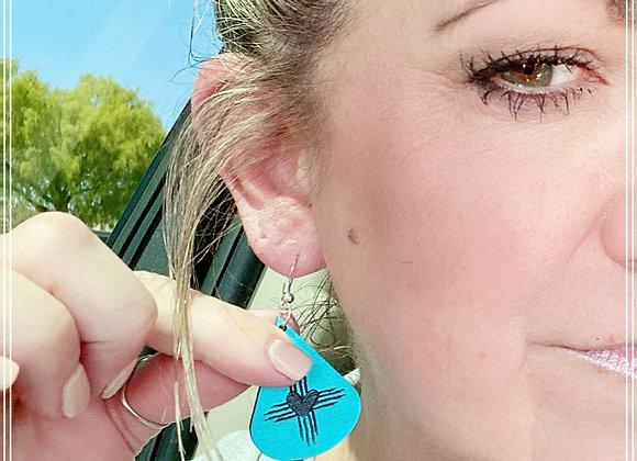 Teardrop Zia Heart Wood Earrings