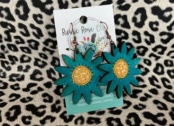 Turquoise Wood Sunflower Earrings