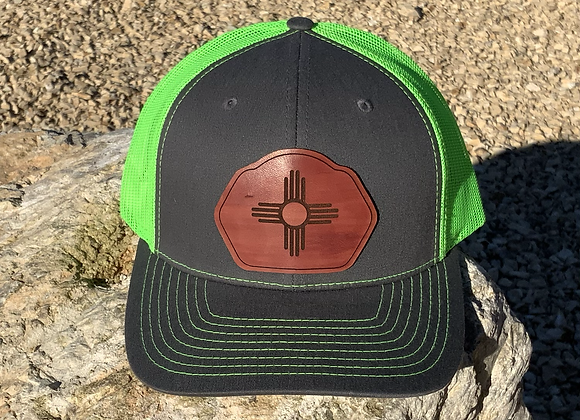 Leather Patch Zia Symbol on Trucker SnapBack Hats