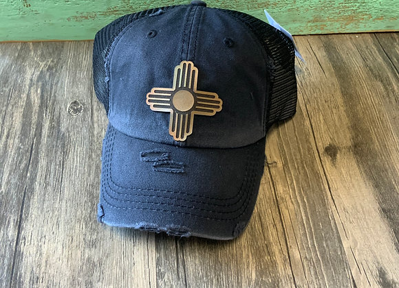 Zia Leather Patch Ponytail Hat