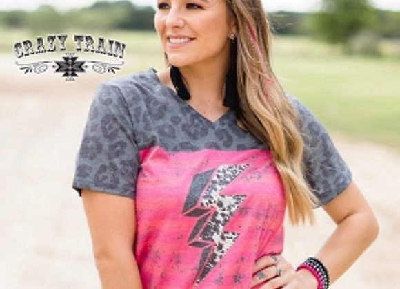 Thunder Bolt Leopard Cow Print Graphic Tee