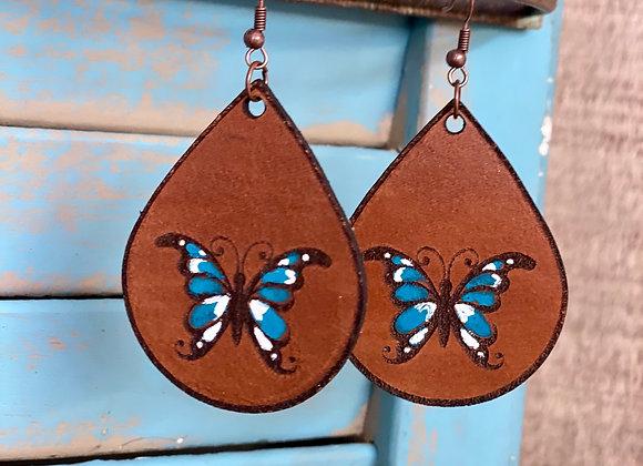 Butterfly Leather Teardrop Handpainted Earrings