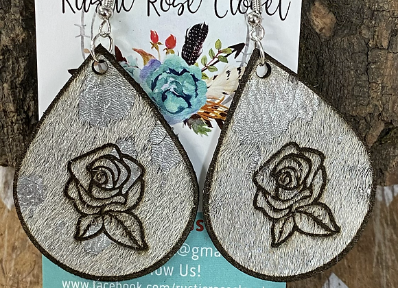 Cowhide Teardrops with Engraved Roses
