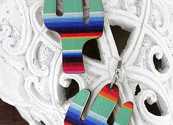 Mint Serape Cut out Teardrop Cactus & Cactus Wood Earrings