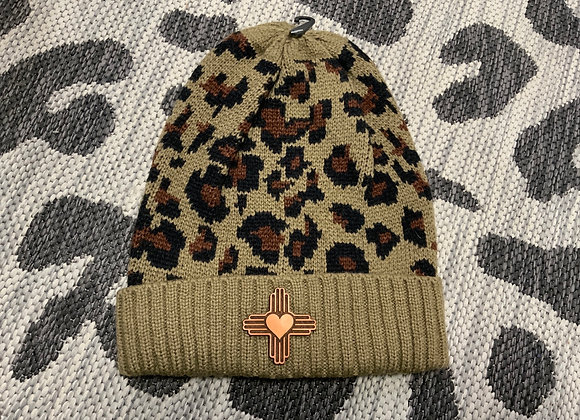 Leopard Beanie with Leather Patch
