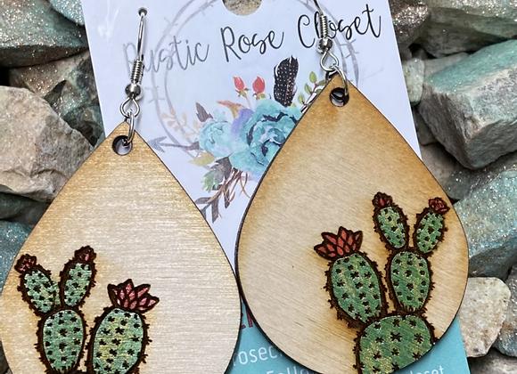 Cactus Teardrops Wood Earrings