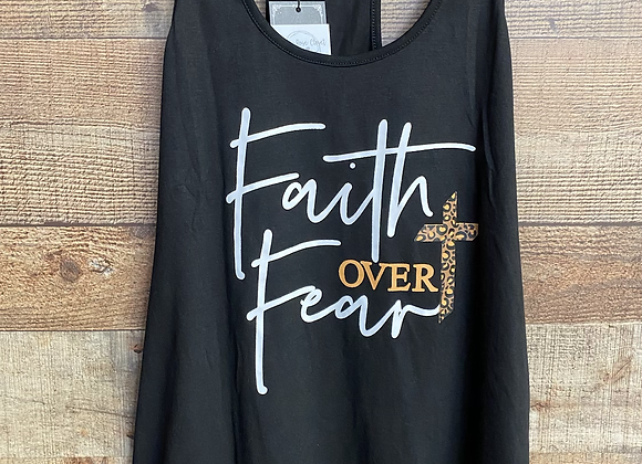 Leopard Print Cross Faith Over Fear Tank Top