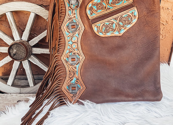 American Darling Bag w/ Tooled Leather Turqoise Accents
