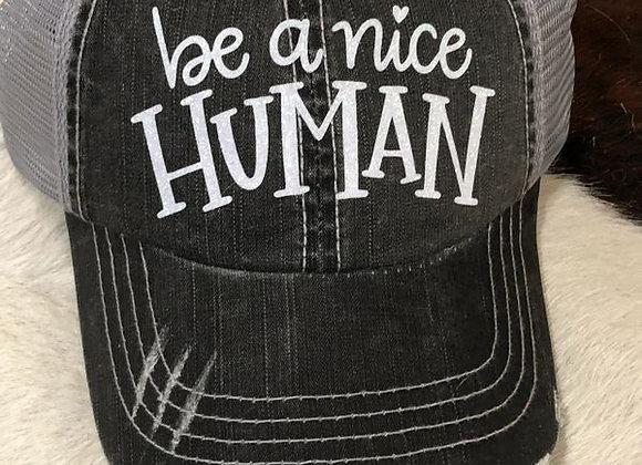 Be A Nice Human Vintage Baseball Hat