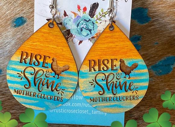Rise & Shine Wood Teardrop Earrings