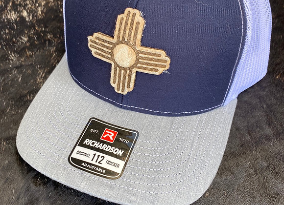 Cowhide Zia Patch on Navy White & Gray Richardson 112 Hat
