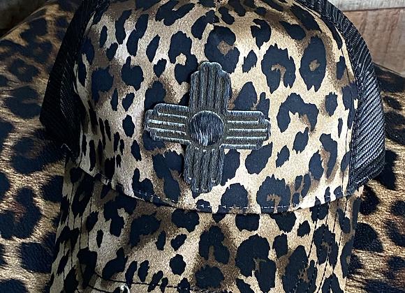 Cowhide Zia Patch  Leopard Trucker Hat