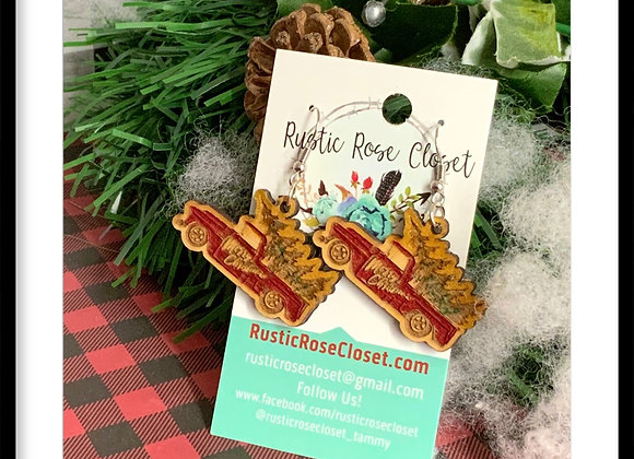 Holiday Wood Painted Earrings