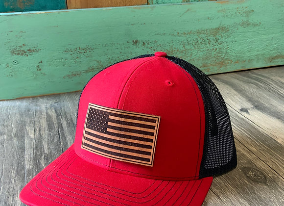 American Flag Leather Patch Richardson Hat