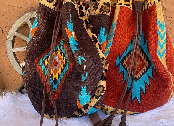 American Darling Saddleblanket Bucket Bag w/Leopard Trim