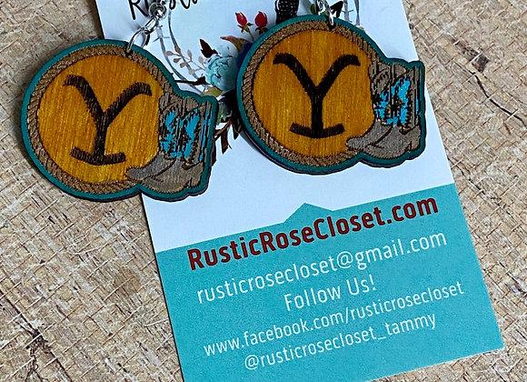Yellowstone Boots Wood Earrings