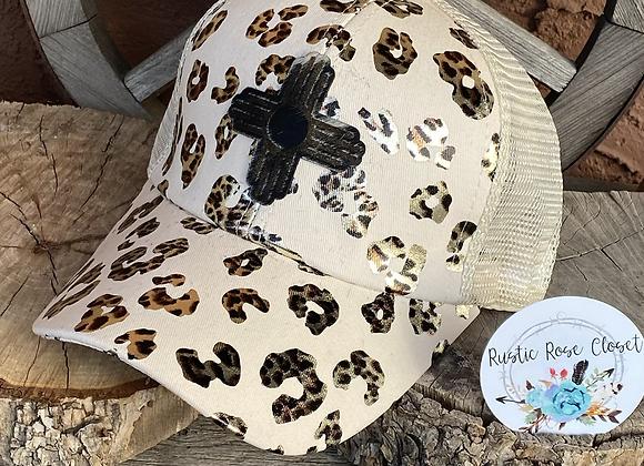 Foil Leopard Print Crisscross Ponytail Hat with Zia Cowhide Patch