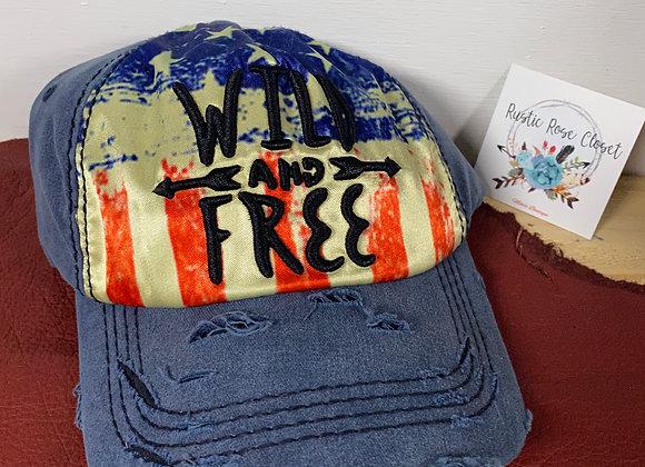 Wild & Free Baseball Hat-Red-White-Blue