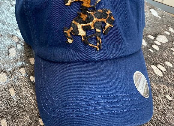 Cowhide Leopard Bronc Cowboy Patch on Ponytail Hat