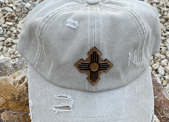 Cowhide Zia Cut & Engraved Patch Ponytail Hat