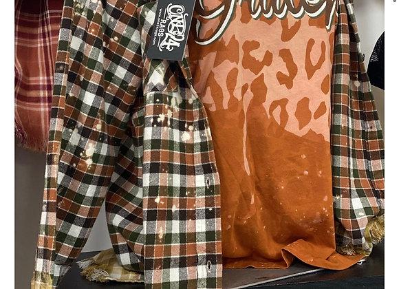 Orange Olive White Fall Plaid Flannel