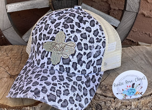 Snow Leopard Crisscross Ponytail Hat with Leather Zia Faith Patch