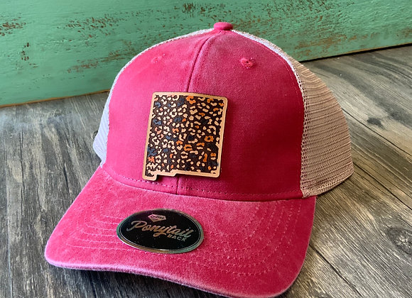 NM State Shape Leather Patch with Leopard Print Ponytail Hat