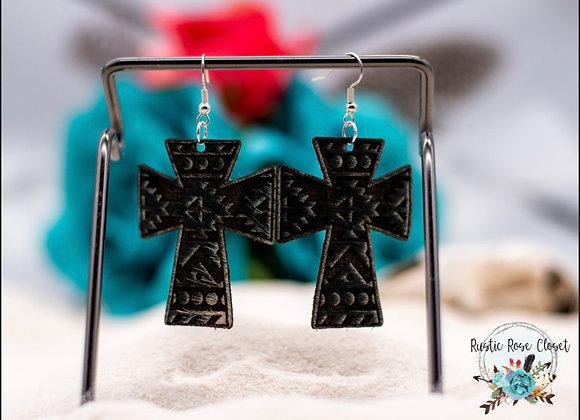 Cowhide Aztec Cross Earrings