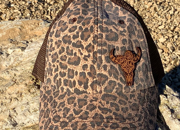 Floral Cow Skull Leather Patch Leopard Hat