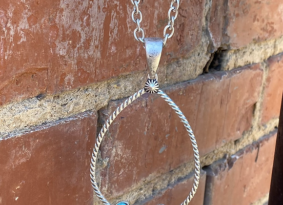 Turquoise Silver Chain Teardrop Long Necklace