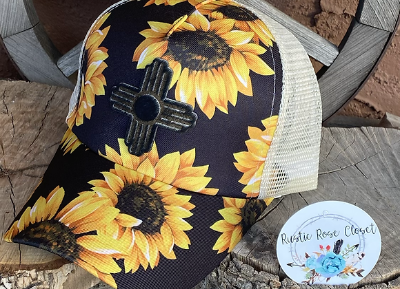 Sunflower Pattern Crisscross Ponytail Messybun Hat with Zia Cowhide Patch