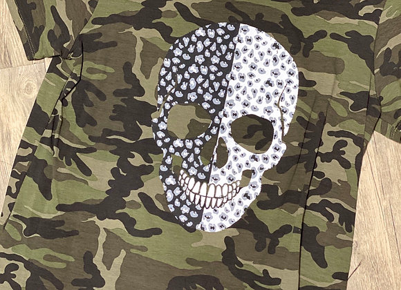 Camo Printed Top with Leopard Skull