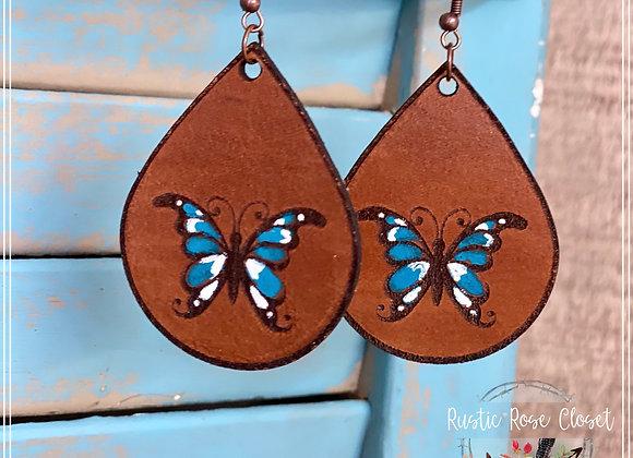 Butterfly Engraved Leather Teardrop Earrings Handpainted