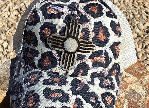 Cowhide Zia Hair on Hide Patch Crisscross Leopard Ponytail Hat