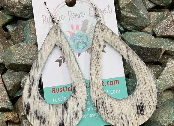 Cowhide Open Teardrop Earrings