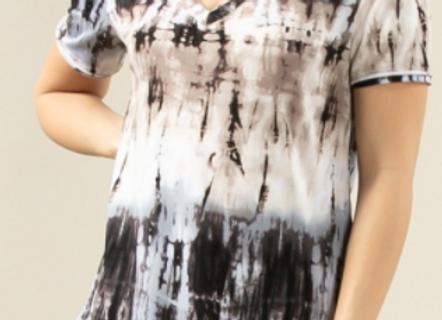 Tie Dye Print V Neck Top