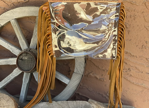 American Darling Crossbody clear bag with Fringe and Tooled Leather
