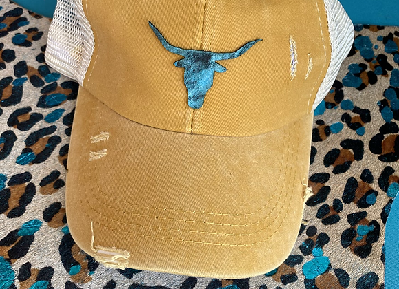 Criss Cross Ponytail Hat with Turquoise Distressed Steerhead Patch