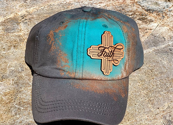 Faith Leather Patch Gray Painted Ponytail Hat