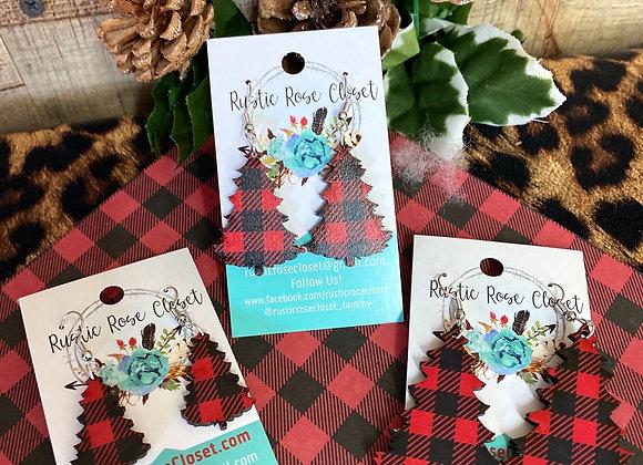 Plaid Christmas Tree Wood Pattern Earrings