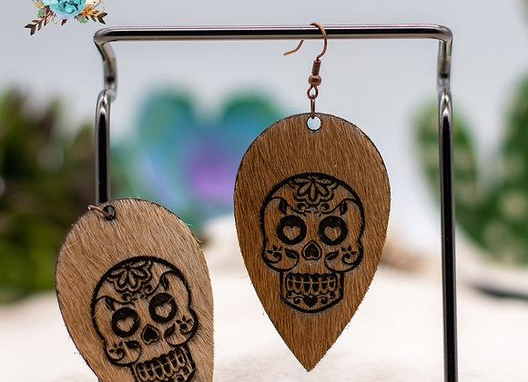 Cowhide Upside Teardrop Sugar Skull Engraved Earrings