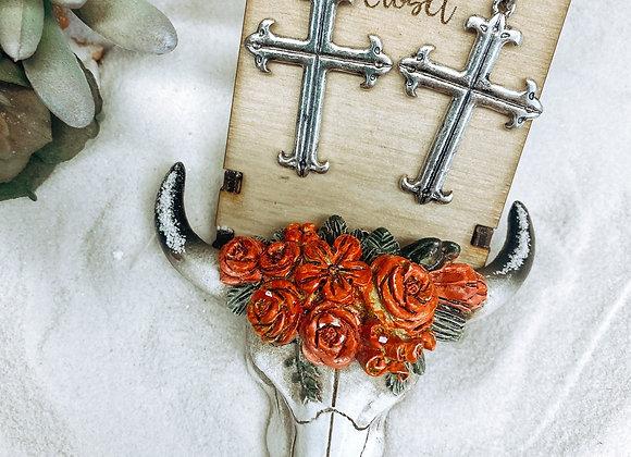Turquoise Stone Silver Cross Earrings