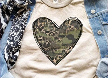 Camo Leopard Heart Graphic Tee