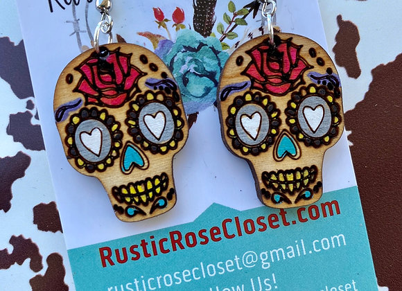 Sugar Skull Wood Earrings Handpainted