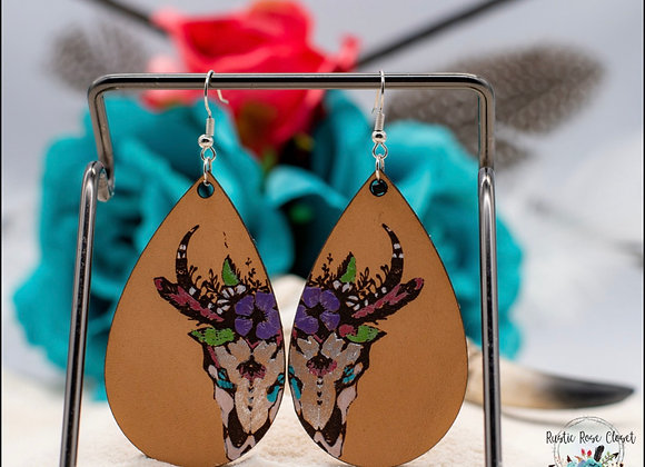 Steer Skull Handpainted Teardrop Leather Earrings