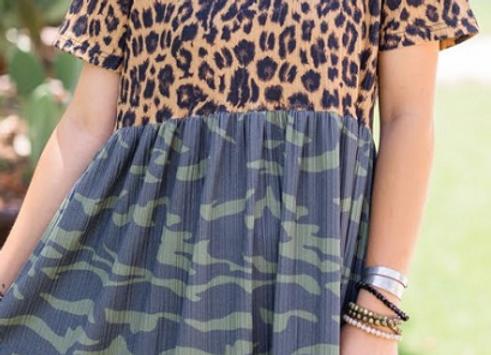 Camo Calico Dress Camo & Leopard Prints