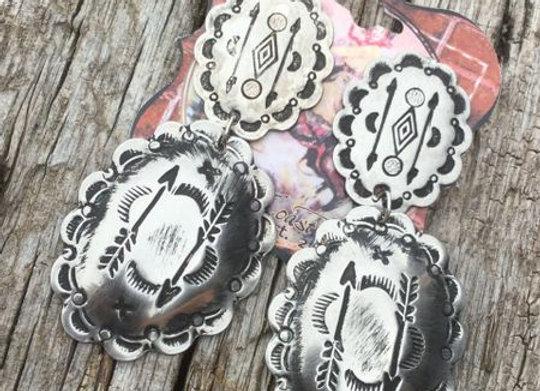 Arrow Southwest Concho Silver Earrings